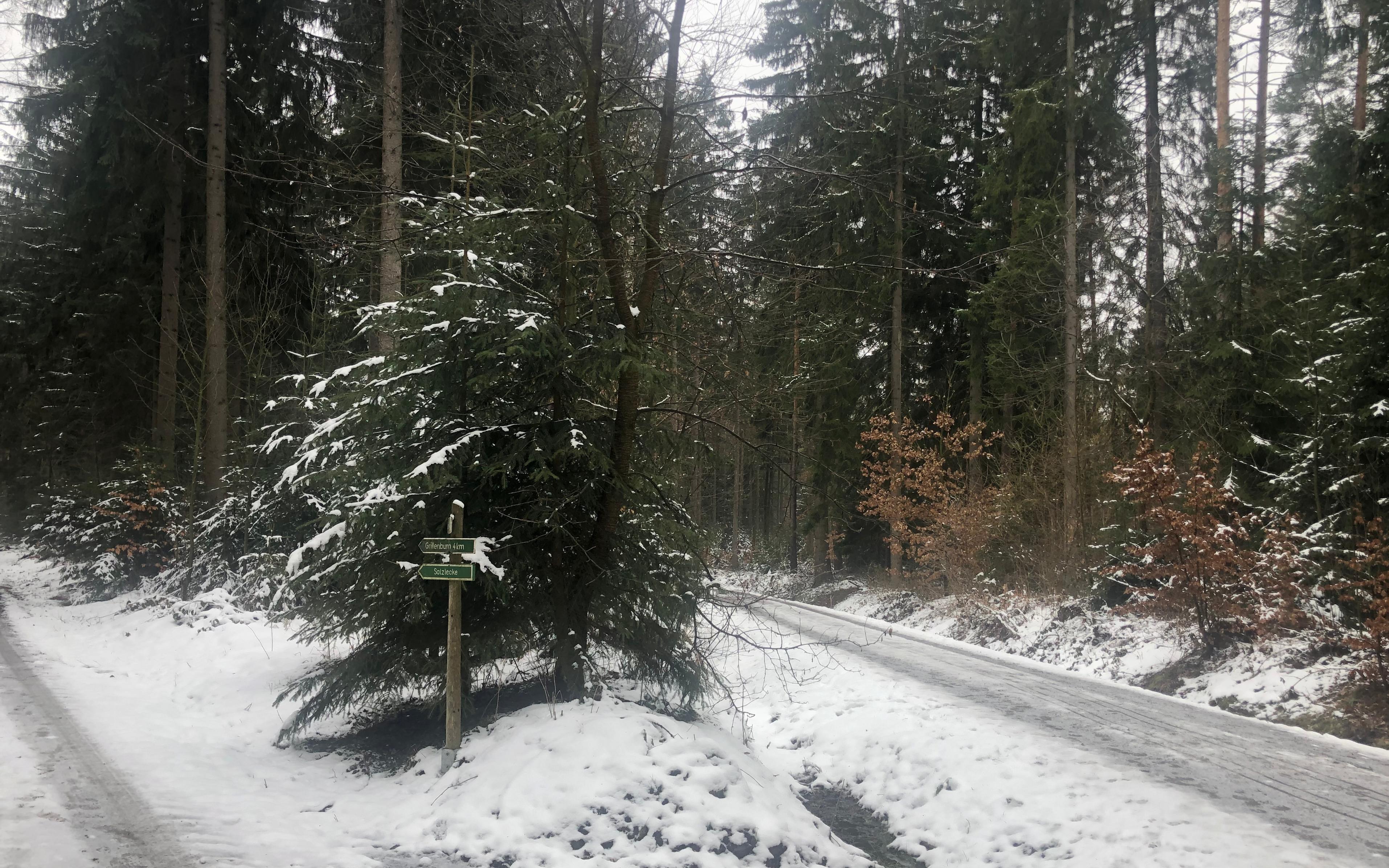 Im Kurort Hartha lag auch Ende März noch Schnee.