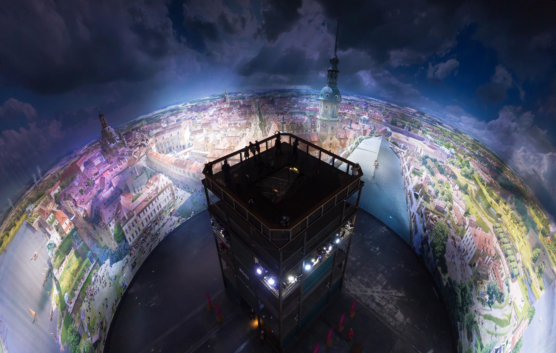 """Exklusiver Blick ins Dresdner Asisi-Panometer - hier das 360° Panorama """"Dresden im Barock""""."""