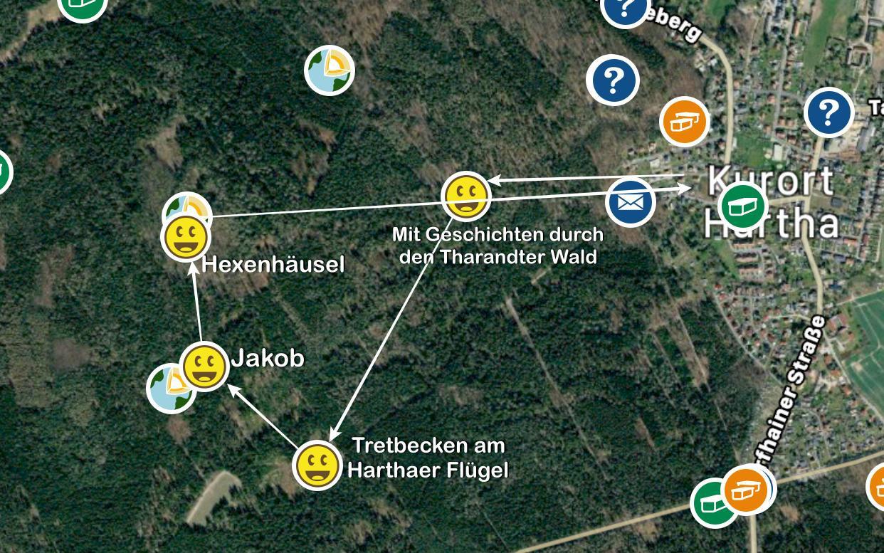 Übersicht der Runde im Tharandter Wald aus der Geocaching-App.