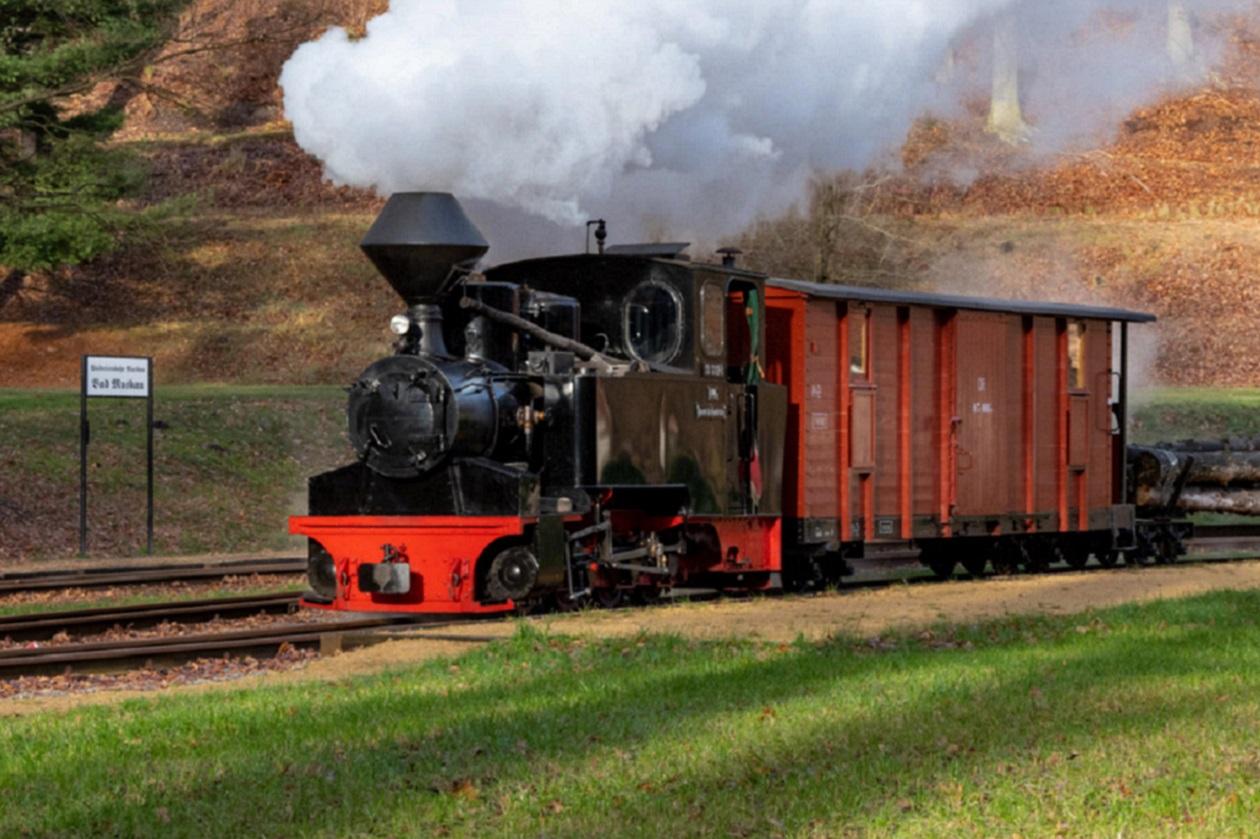 """Fährt nach Fahrplan: <a href=""""https://augusto-sachsen.de/articles/freizeiterlebnis-waldeisenbahn-bad-muskau-541"""">Waldeisenbahn Muskau</a>"""