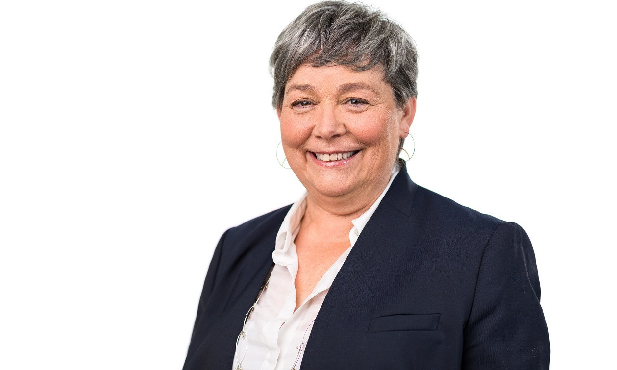 """Karin Hildebrand """"steuert"""" Sachsens Dampfer auf der Elbe."""