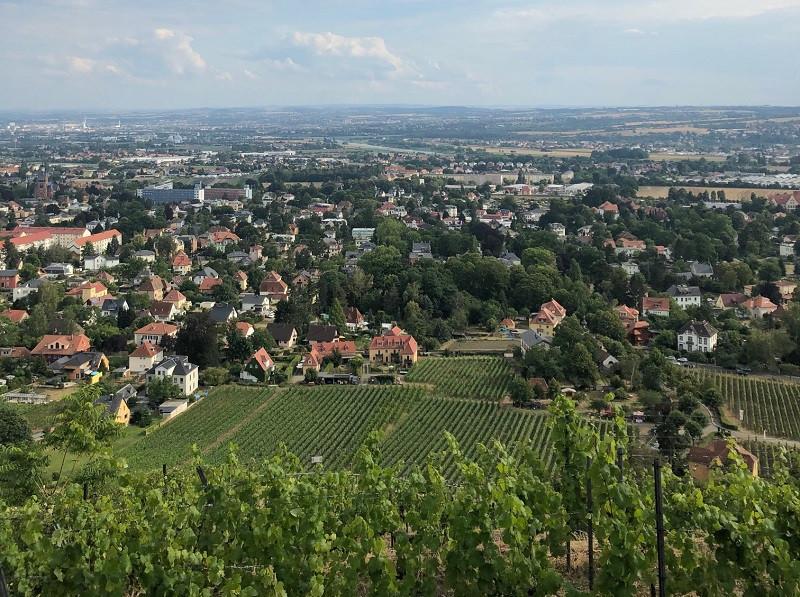 Blick vom Spitzhaus auf Dresden und das Elbtal.